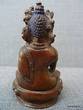 SUPERBE ANTIQUE BOUDDHA DEESSE XVIII XIX SIGNEE BRONZE PATINE BRUNE