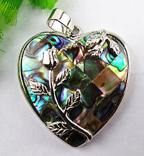 Beautiful Abalone Shell Tibetan silver line carved heart pendant bead BC1900