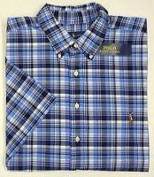 NWT $98 Polo Ralph Lauren SS Oxford Shirt Mens 2XLT Blue Plaid Short Sleeve NEW