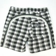 "SUNDEK MENS SZ 32 BLACK & WHITE CHECK SWIM TRUNKS 6"" INSEAM NON-STRETCH LINED"