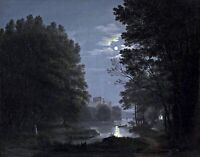 Love Couple at Full Moon by German  Jakob Alt. Forests   11x14 Print