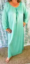 ANTHONY RICHARDS VINTAGE PLUS SIZE GREEN SLIPPERY NYLON LONG NIGHTGOWN O/S EVC