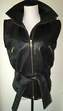 Andrew Marc Belted Black Leather Vest Zip Front Size S