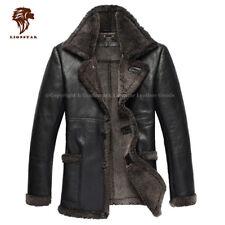 Lionstar élégant Top Qualité Hommes Cuir Véritable Extra Chaud Manteau D'hiver Avec Fourrure