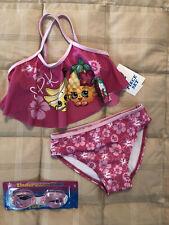 Shopkins NWT 2 piece Tankini & goggles Buncho Bananas & Strawberry Kiss 4 girl