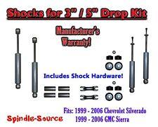 """Shock Kit for 99 - 06 Silverado Sierra w/ Drop Coils Flip Kit Shackles 3"""" / 5"""""""