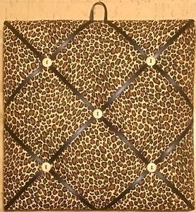 French Bulletin Board Photo Memo Board Brown & Tan Cheetah Print 12 x 12 inches