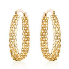 Gold Plated Gold Cable Linked Hoop Earrings