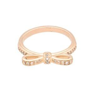 Genuine PANDORA Rose Gold Plated White Swarovski Bow Ring (Size I) 4mm Widest