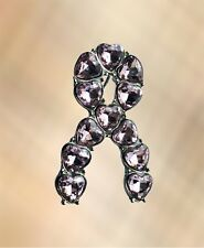 Pink Heart Gemstone Silver Ribbon Breast Cancer Charity Awareness Pin Brooch Pin