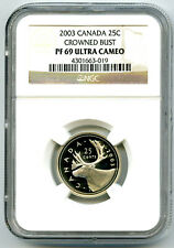 2003 CANADA 25 CENT NGC PF69 ULTRA CAMEO CROWNED BUST QUARTER PROOF TOP POP=2