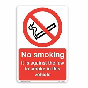 No Smoking In This Vehicle Sign - [A6 100mm x 150mm] Self Adhesive Sticker