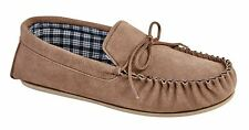 Mens Leather Suede Slippers Slip On Moccasin Mokkers Stitched TPR Sole Shoes