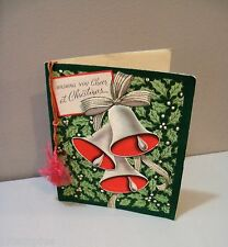 Vtg Christmas Card The Pollyanna Line Bells Rope Tassle 50's Happy New Year