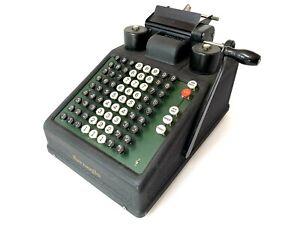 A++ Burroughs Mode 8 ADDING MACHINE Antique Vtg Mechanical Calculator Hand Crank