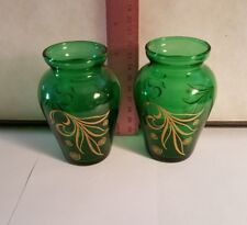 VINTAGE GREEN VASES WITH GOLD PATTERN SET OF 2 IN ORIGINAL BOX