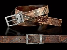 860043 SYDNEY ROOSTERS NRL TEAM BROWN LEATHER BELT UP TO 145CM LONG