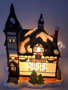 Grandeur Noel Victorian Village Schoolhouse 1995 Porcelain Replacement Vintage