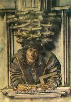 Alte Kunstpostkarte - Wien - St. Stephan - Selbstporträt Meister Anton Pilgram