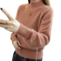 Women's Half Turtleneck Knitting Sweater Warm Leisure Loose Pullovers Feng8