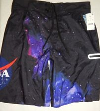 90d868230004e Swim Trunks Shorts M Buzz Aldrin Space NASA Universe Blue Print Mesh Lined  Mens