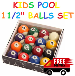 """KIDS Spots & Stripes POOL BILLIARD BALLS 1 1/2"""" INCH (38mm) FOR HOME USE TABLE"""