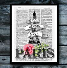 Paris Dictionary Art Print Eiffel Tower Vintage Poster Modern Cool  Wall Decor