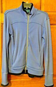 Luna Merino Wool Cycling Jacket Women's Size Large Blue Black Full Zip