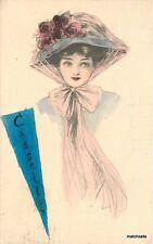 1911 Casselton North Dakota Pennant Lady hand colored postcard 8104