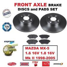 FOR MAZDA MX-5 MX5 1.6 1.8 16V Mk II 1998-2005 FRONT AXLE BRAKE PADS + DISCS SET