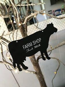 Set 2 Farmhouse Signs Metal Cow Chicken Milk Eggs Wall Decor Hanging Ornaments