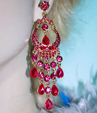 Chandelier Earrings Rhinestone Bridal Prom Pageant Austrian Crystal Pink 4.1 in