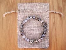 Silver Buddha, Dragon Veins Agate Beaded Semi Precious Bracelet & Jute Gift Bag