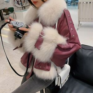 Women's Real Fur Parka Winter Warm leather Coat with Down Lined Jacket 3XM3644