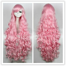 Heat-resistant 100cm long Pink Curly Wavy Full Hair Cosplay Wig CB64F USA Ship