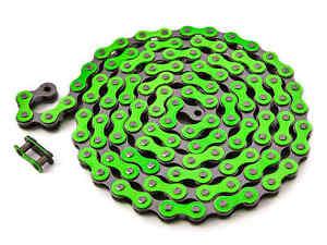 "KHE BMX Fixie Chain 1/2 "" x 1/8 "" Green 112 Links Left Only 13.6oz + Chain Lock"