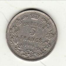 BELGIQUE ALBERT 5 FRANCS 1931