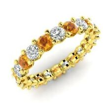 2.54 Ct Citrine Eternity Wedding Band 14K Yellow Gold Diamond Ring Size N O P