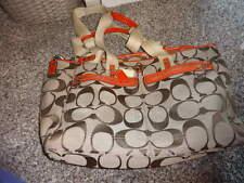 COACH BROWN AND ORANGE DIAPER BAG