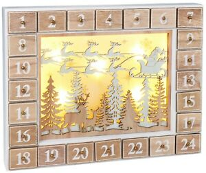 BRUBAKER Advent Calendar - Wooden Forest - White Nature Scene with LED Lighting