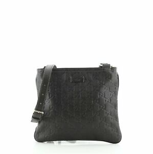 Gucci Zip Top Messenger Bag Guccissima Leather Small