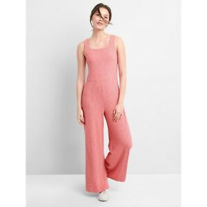 GAP Apron Neck Wide Leg Ribbed Jumpsuit In Pink City Womens S Small