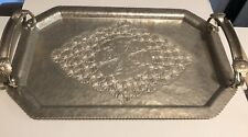 Free Ship Vntg Continental Hand-Wrought Hammered Aluminum Tray, Daisies Reduced