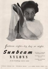 Sunbeam Nylons. Fashion right - by day or night. Advert. BRITISH VOGUE 1955