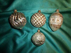 4 alte Christbaumkugeln Glas Formen Laterne Zapfen silber weiß Weihnachten (N298