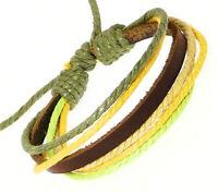 Dark Brown Leather Strap & Coloured Cords Leather Bracelet Wristband Surf Surfer