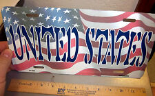UNITED STATES and USA flag on a novelty Metal License Plate,  made in the USA!