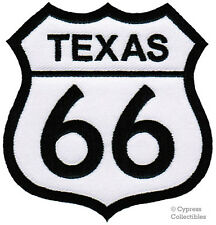 TEXAS ROUTE 66 EMBROIDERED PATCH - IRON-ON APPLIQUE Highway Road Sign Biker