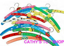 CLEARANCE 10PCS Multi Coloured Wooden Childrens Baby Kids Coat Clothes Hangers