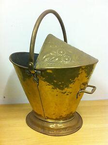 Antique Edwardian Large Brass Embossed Coal Wood Bucket Scuttle Fireplace TA083